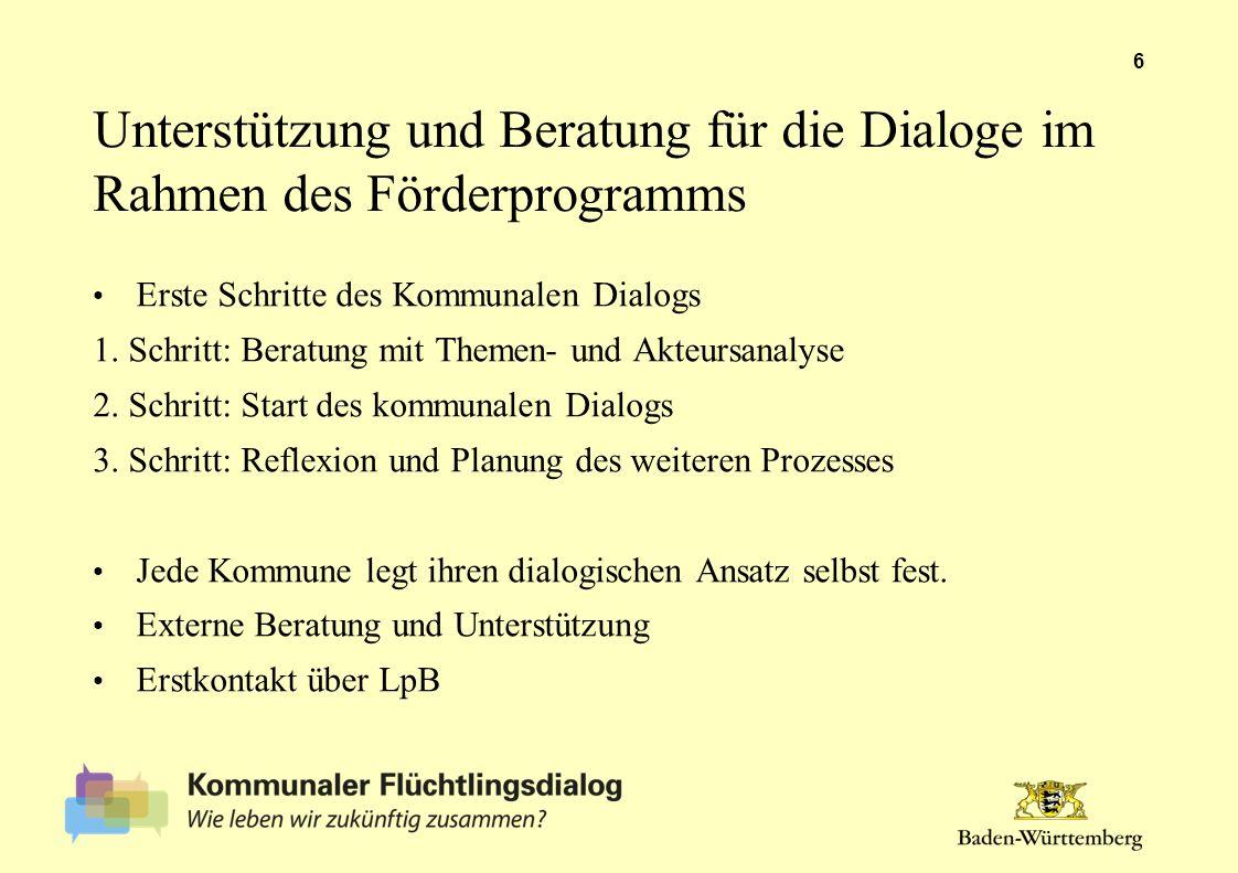 Unterstützung und Beratung für die Dialoge im Rahmen des Förderprogramms Erste Schritte des Kommunalen Dialogs 1. Schritt: Beratung mit Themen- und Ak