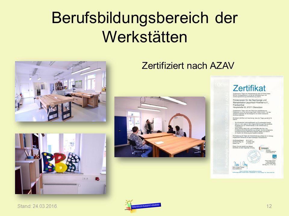 Berufsbildungsbereich der Werkstätten Stand: 24.03.201612 Zertifiziert nach AZAV