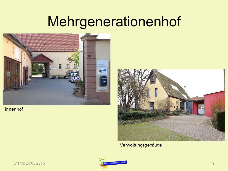 Mehrgenerationenhof Stand: 24.03.20169 Innenhof Verwaltungsgebäude