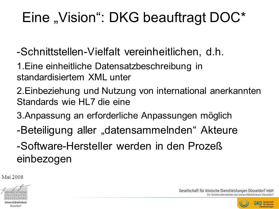 """Eine """"Vision : DKG beauftragt DOC* -Schnittstellen-Vielfalt vereinheitlichen, d.h."""