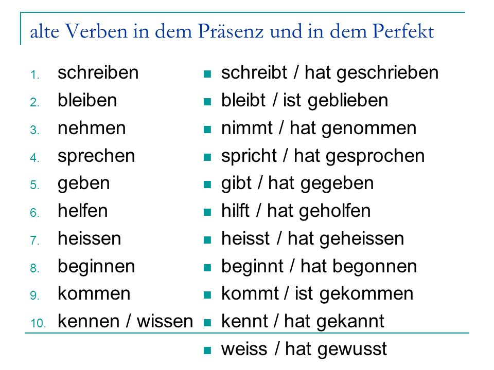 alte Verben in dem Präsenz und in dem Perfekt 1. schreiben 2.
