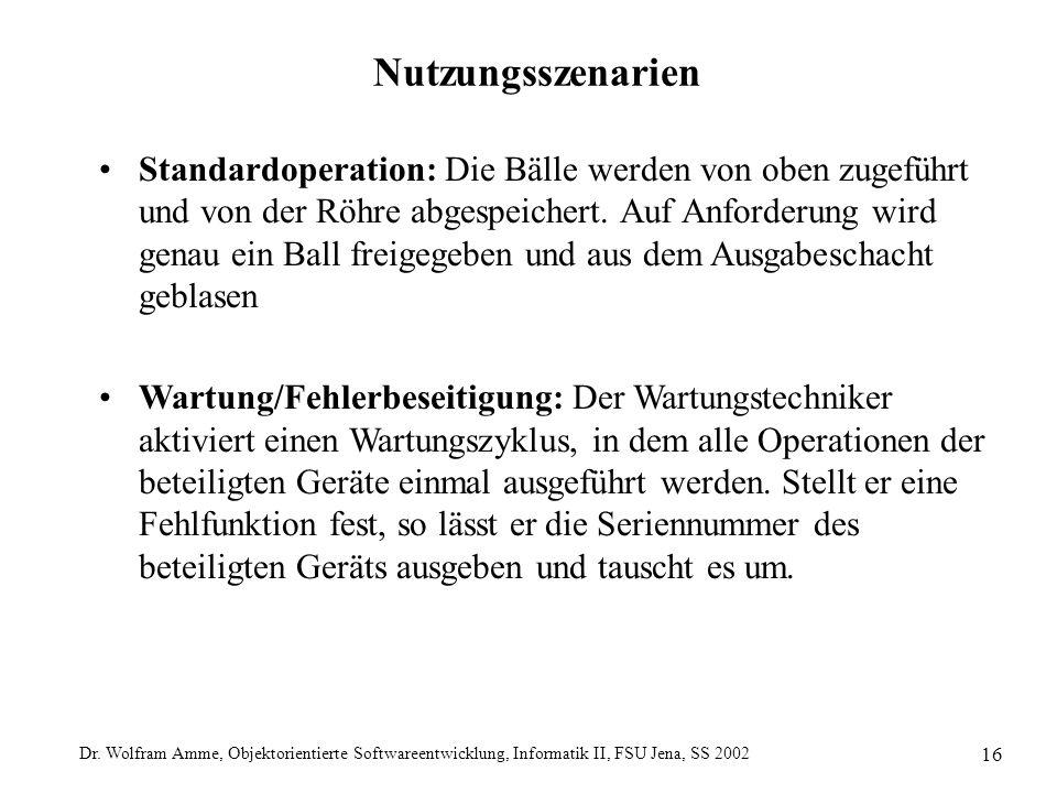 Dr. Wolfram Amme, Objektorientierte Softwareentwicklung, Informatik II, FSU Jena, SS 2002 16 Nutzungsszenarien Standardoperation: Die Bälle werden von