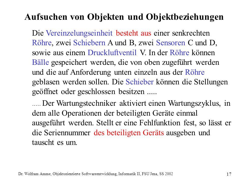 Dr. Wolfram Amme, Objektorientierte Softwareentwicklung, Informatik II, FSU Jena, SS 2002 17 Aufsuchen von Objekten und Objektbeziehungen Die Vereinze