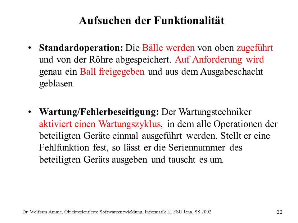 Dr. Wolfram Amme, Objektorientierte Softwareentwicklung, Informatik II, FSU Jena, SS 2002 22 Aufsuchen der Funktionalität Standardoperation: Die Bälle