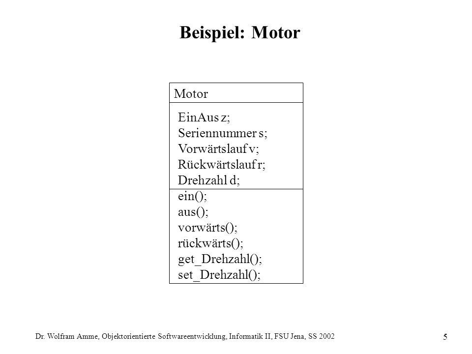 Dr. Wolfram Amme, Objektorientierte Softwareentwicklung, Informatik II, FSU Jena, SS 2002 5 Beispiel: Motor Motor EinAus z; Seriennummer s; Vorwärtsla
