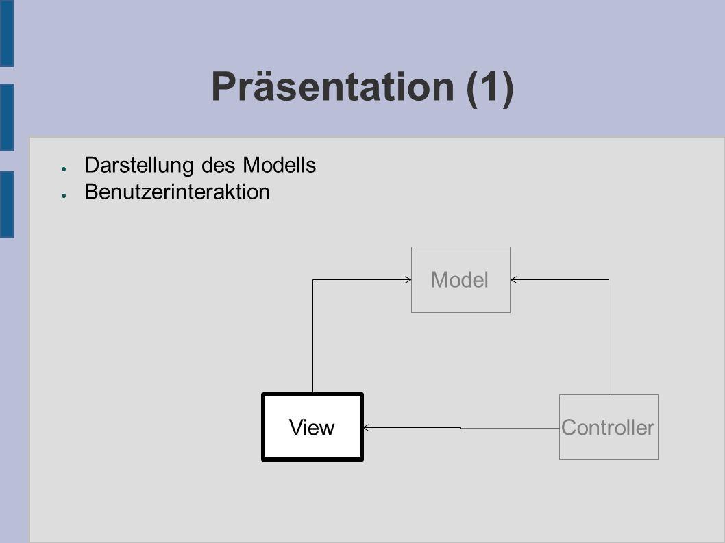 Präsentation (1) ● Darstellung des Modells ● Benutzerinteraktion Model View Controller