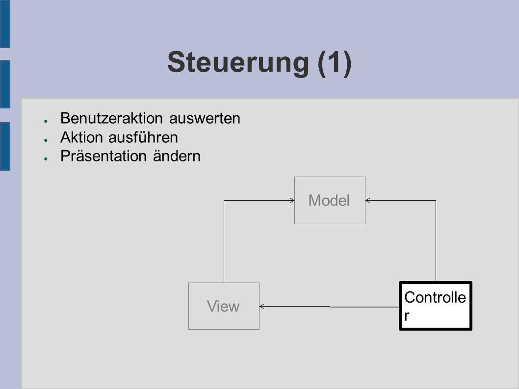 Steuerung (1) ● Benutzeraktion auswerten ● Aktion ausführen ● Präsentation ändern Model View Controlle r