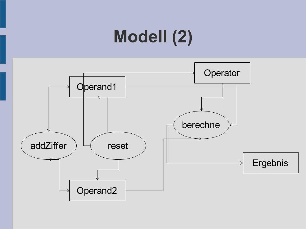 Modell (2) Operand1 Operand2 Operator Ergebnis berechne resetaddZiffer