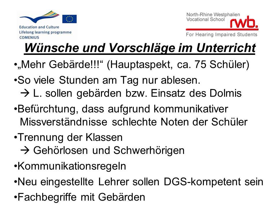 """Wünsche und Vorschläge im Unterricht """"Mehr Gebärde!!! (Hauptaspekt, ca."""