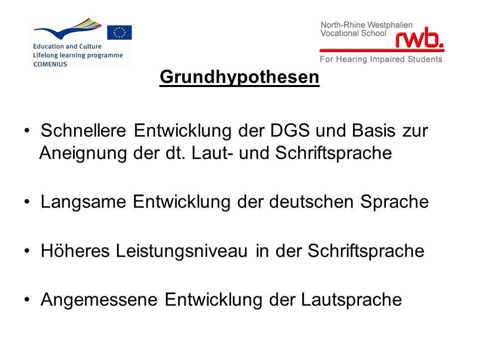 Grundhypothesen Schnellere Entwicklung der DGS und Basis zur Aneignung der dt.