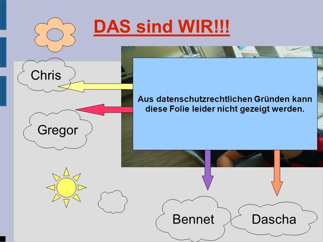 DAS sind WIR!!! Dascha Bennet Gregor Chris Aus datenschutzrechtlichen Gründen kann diese Folie leider nicht gezeigt werden.