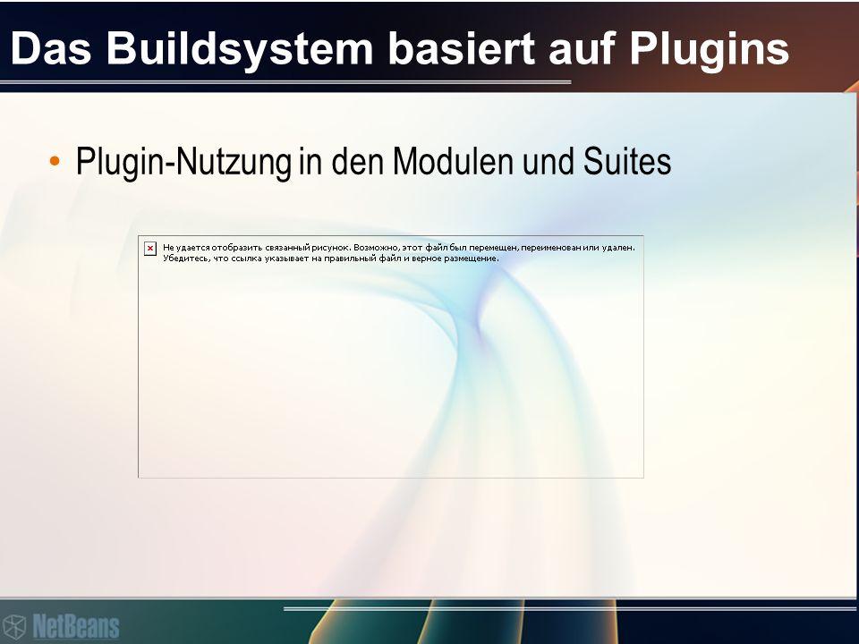 Das Buildsystem basiert auf Plugins Plugin-Nutzung in den Modulen und Suites