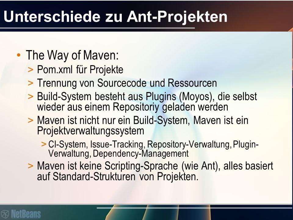 Unterschiede zu Ant-Projekten The Way of Maven: > Pom.xml für Projekte > Trennung von Sourcecode und Ressourcen > Build-System besteht aus Plugins (Moyos), die selbst wieder aus einem Repositoriy geladen werden > Maven ist nicht nur ein Build-System, Maven ist ein Projektverwaltungssystem > CI-System, Issue-Tracking, Repository-Verwaltung, Plugin- Verwaltung, Dependency-Management > Maven ist keine Scripting-Sprache (wie Ant), alles basiert auf Standard-Strukturen von Projekten.