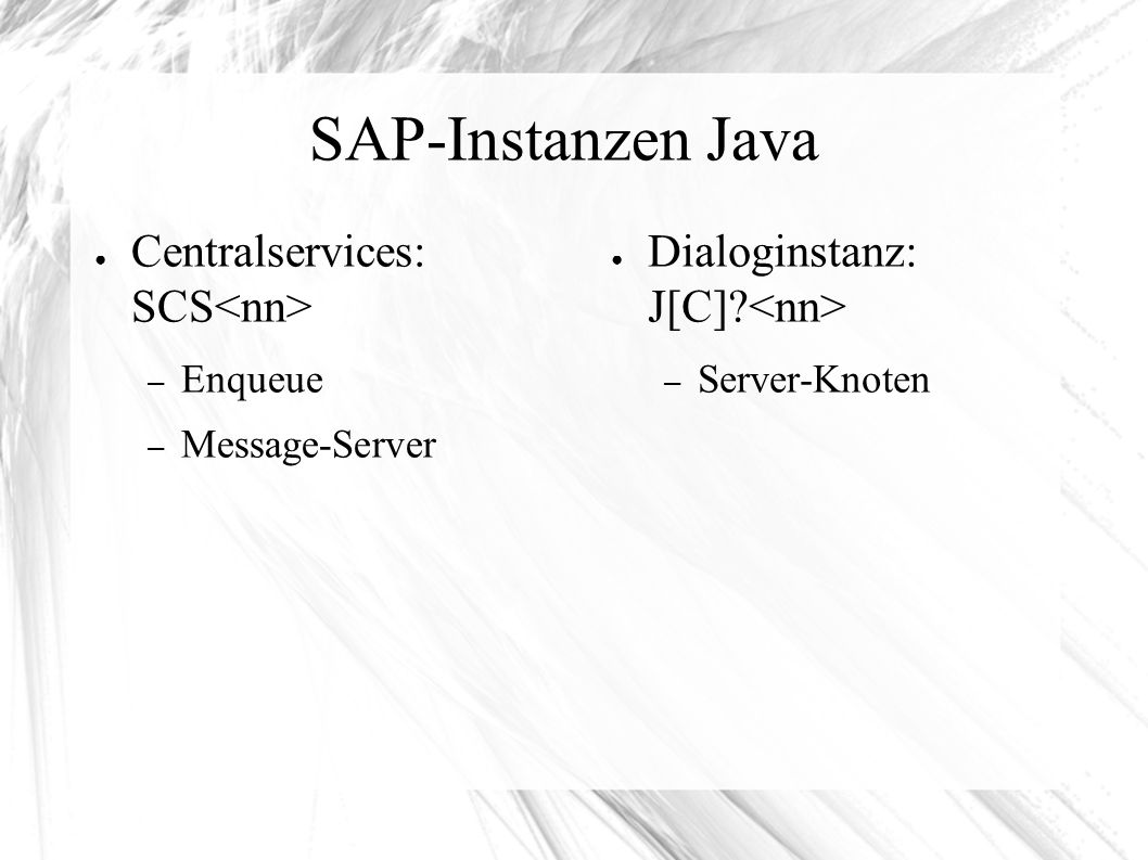 SAP-Instanzen Java ● Centralservices: SCS – Enqueue – Message-Server ● Dialoginstanz: J[C].