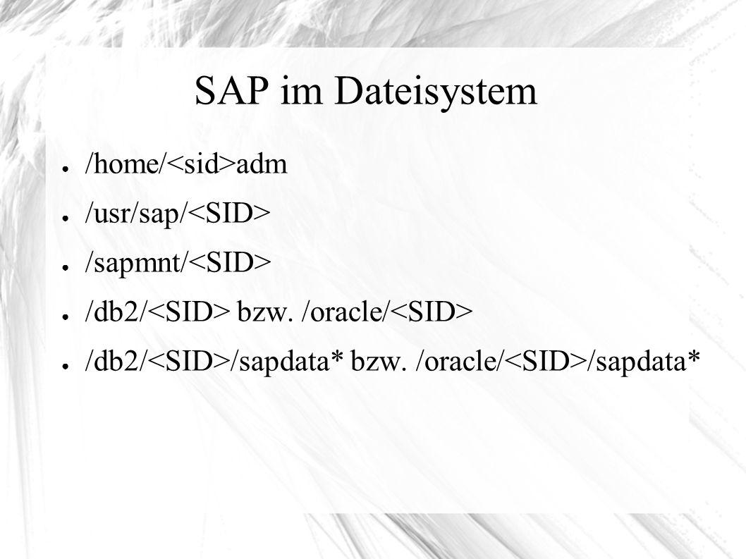 SAP im Dateisystem ● /home/ adm ● /usr/sap/ ● /sapmnt/ ● /db2/ bzw.