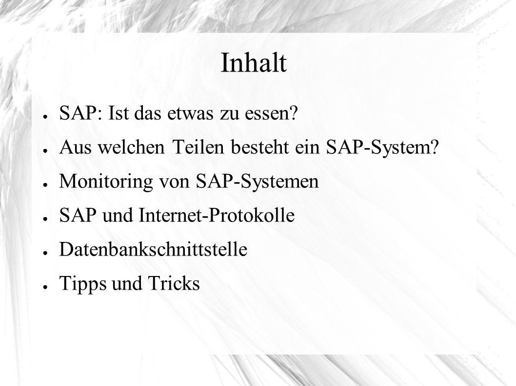 """Datenbank-Schnittstelle (2) ● Zugriffe außerhalb von SAP auf die Datenbank sind nicht gerne gesehen ● Aber: Für den Admin oft notwendig (SAP* """"schiessen ) ● Jedes SAP hat einen Schema-User, dieser wird bei ABAP im Envorinment des adm festgelegt (z.B."""