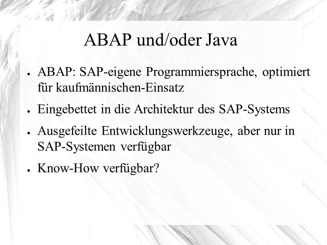 ABAP und/oder Java ● ABAP: SAP-eigene Programmiersprache, optimiert für kaufmännischen-Einsatz ● Eingebettet in die Architektur des SAP-Systems ● Ausgefeilte Entwicklungswerkzeuge, aber nur in SAP-Systemen verfügbar ● Know-How verfügbar