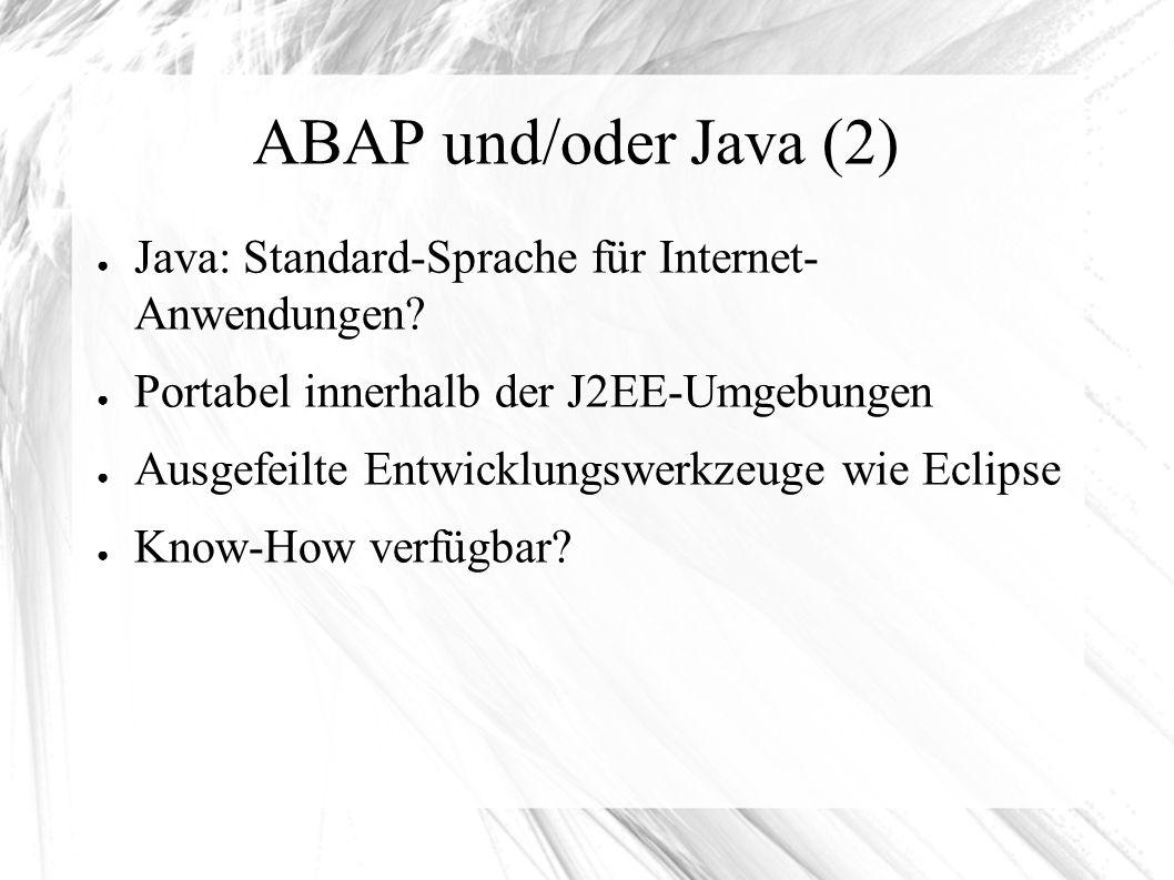 """ABAP und/oder Java (3) ● """"moderne SAP-Anwendungen bestehen heute aus ABAP- und Java-Komponenten ● Neue Systeme sind oft als Double-Stack implementiert (ABAP und Java in einer Instanz) ● Aber: BI-Systeme sollten Single-Stack-Systeme sein"""