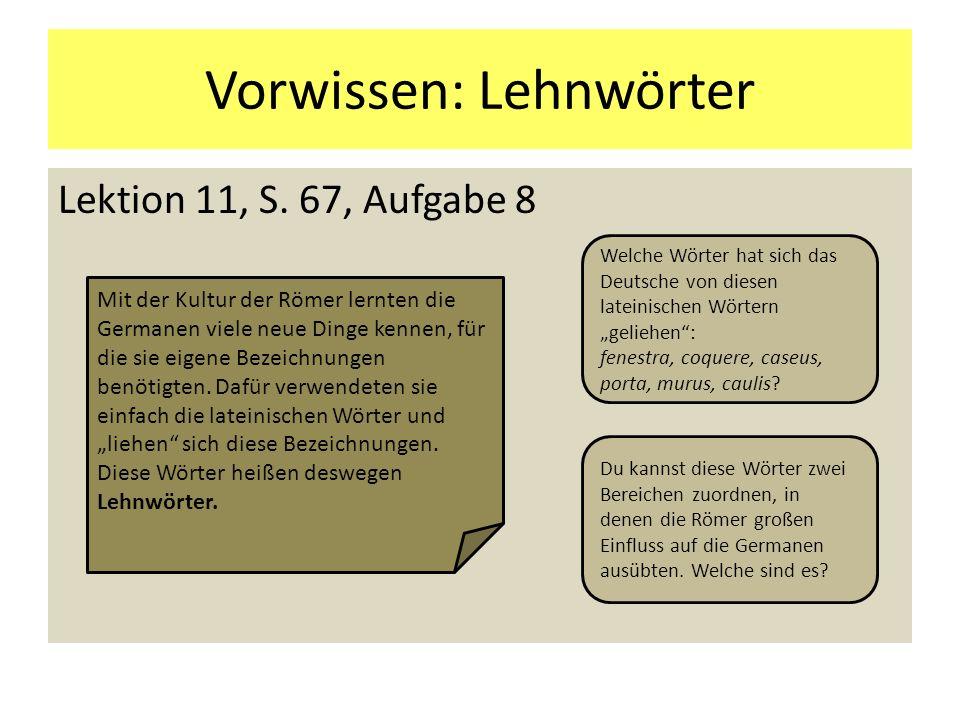 Vorwissen: Lehnwörter Lektion 11, S. 67, Aufgabe 8 Mit der Kultur der Römer lernten die Germanen viele neue Dinge kennen, für die sie eigene Bezeichnu