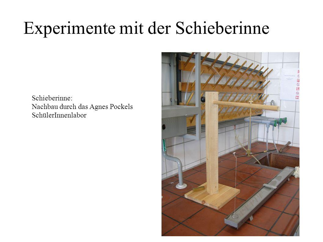 Experimente mit der Schieberinne Schieberinne: Nachbau durch das Agnes Pockels SchülerInnenlabor