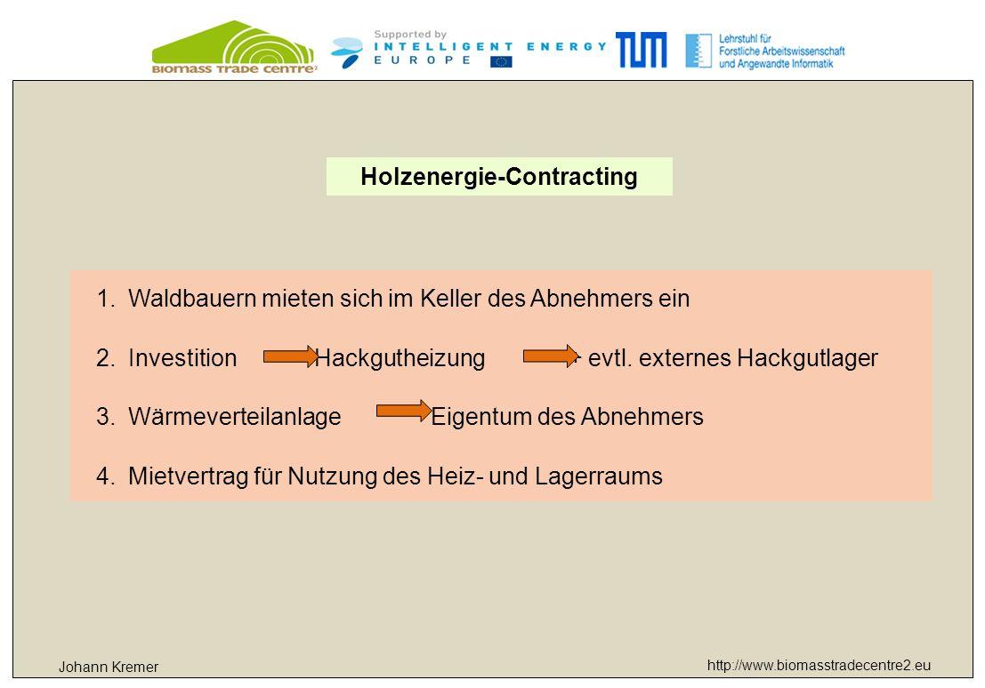 http://www.biomasstradecentre2.eu Johann Kremer Holzenergie-Contracting 1.Waldbauern mieten sich im Keller des Abnehmers ein 2.Investition Hackgutheizung + evtl.