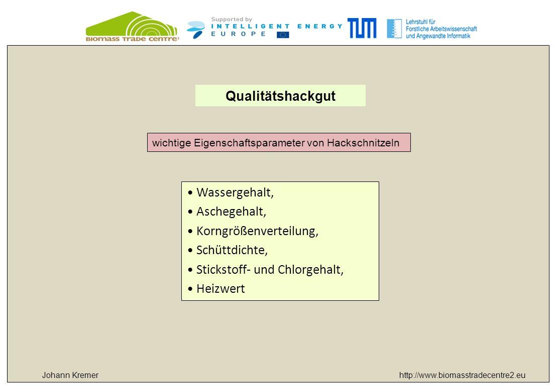 http://www.biomasstradecentre2.euJohann Kremer Qualitätshackgut wichtige Eigenschaftsparameter von Hackschnitzeln Wassergehalt, Aschegehalt, Korngröße