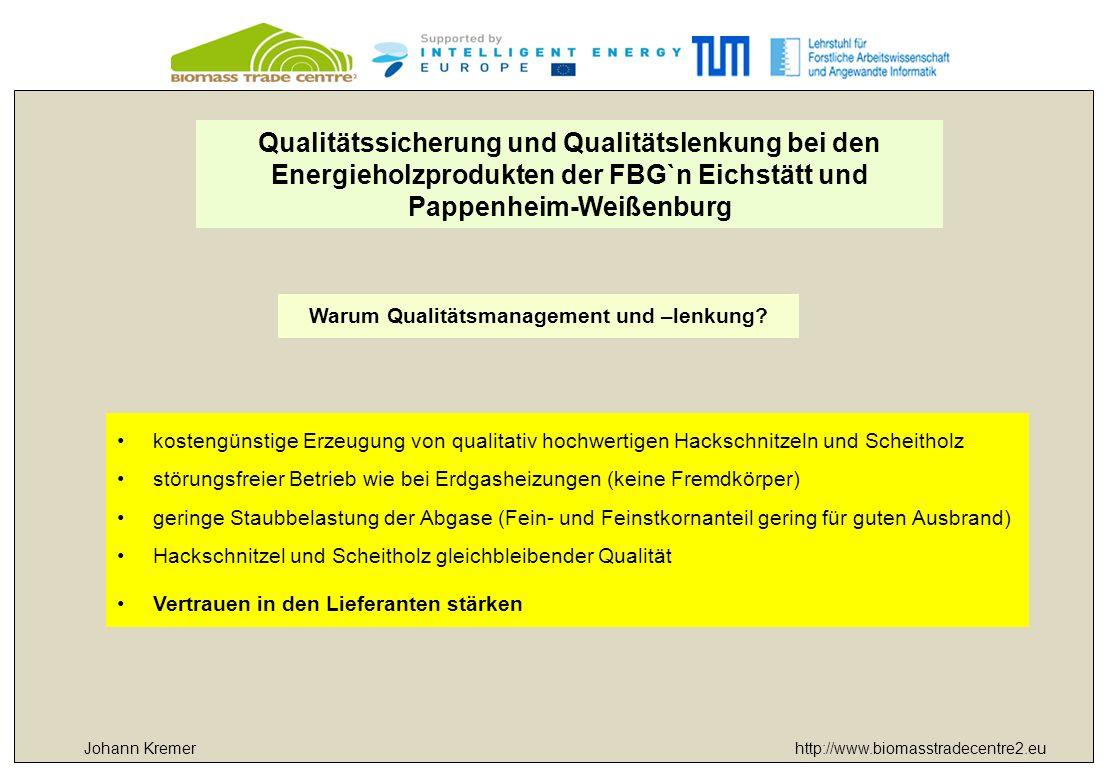 http://www.biomasstradecentre2.eu Qualitätssicherung und Qualitätslenkung bei den Energieholzprodukten der FBG`n Eichstätt und Pappenheim-Weißenburg Warum Qualitätsmanagement und –lenkung.