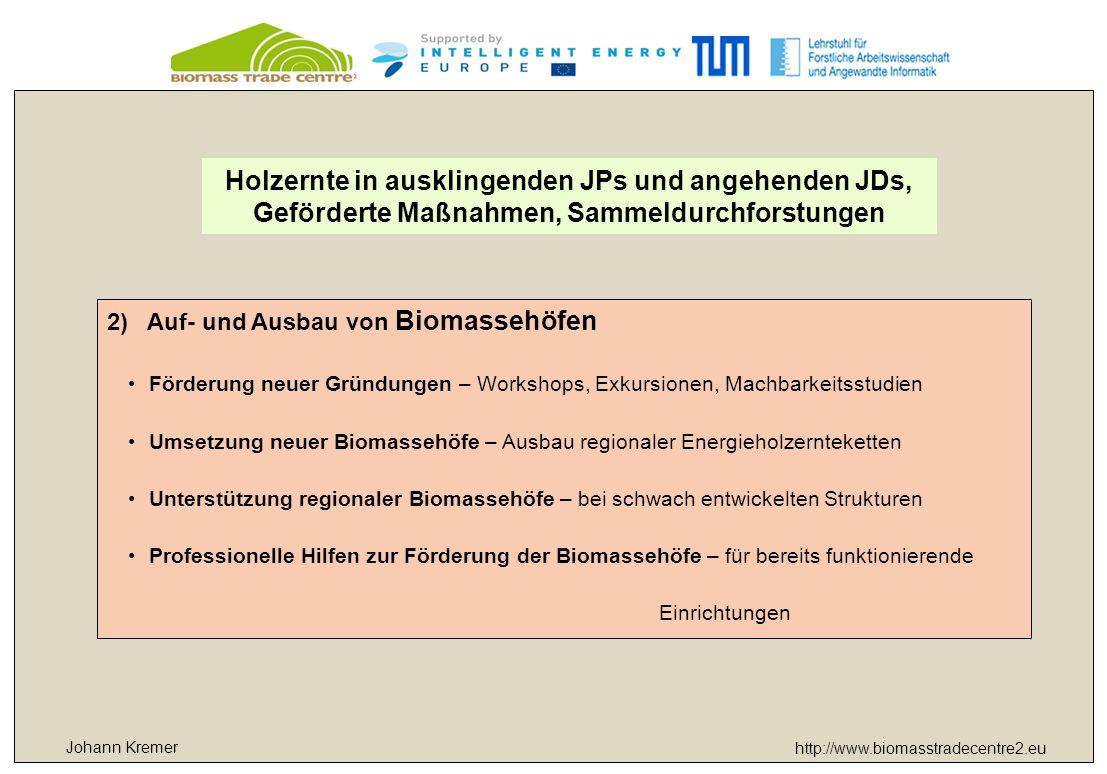 http://www.biomasstradecentre2.eu 2)Auf- und Ausbau von Biomassehöfen Förderung neuer Gründungen – Workshops, Exkursionen, Machbarkeitsstudien Umsetzung neuer Biomassehöfe – Ausbau regionaler Energieholzernteketten Unterstützung regionaler Biomassehöfe – bei schwach entwickelten Strukturen Professionelle Hilfen zur Förderung der Biomassehöfe – für bereits funktionierende Einrichtungen Holzernte in ausklingenden JPs und angehenden JDs, Geförderte Maßnahmen, Sammeldurchforstungen Johann Kremer