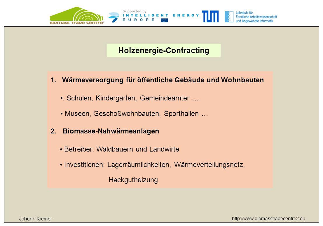 http://www.biomasstradecentre2.eu Johann Kremer Holzenergie-Contracting 1.Wärmeversorgung für öffentliche Gebäude und Wohnbauten. Schulen, Kindergärte