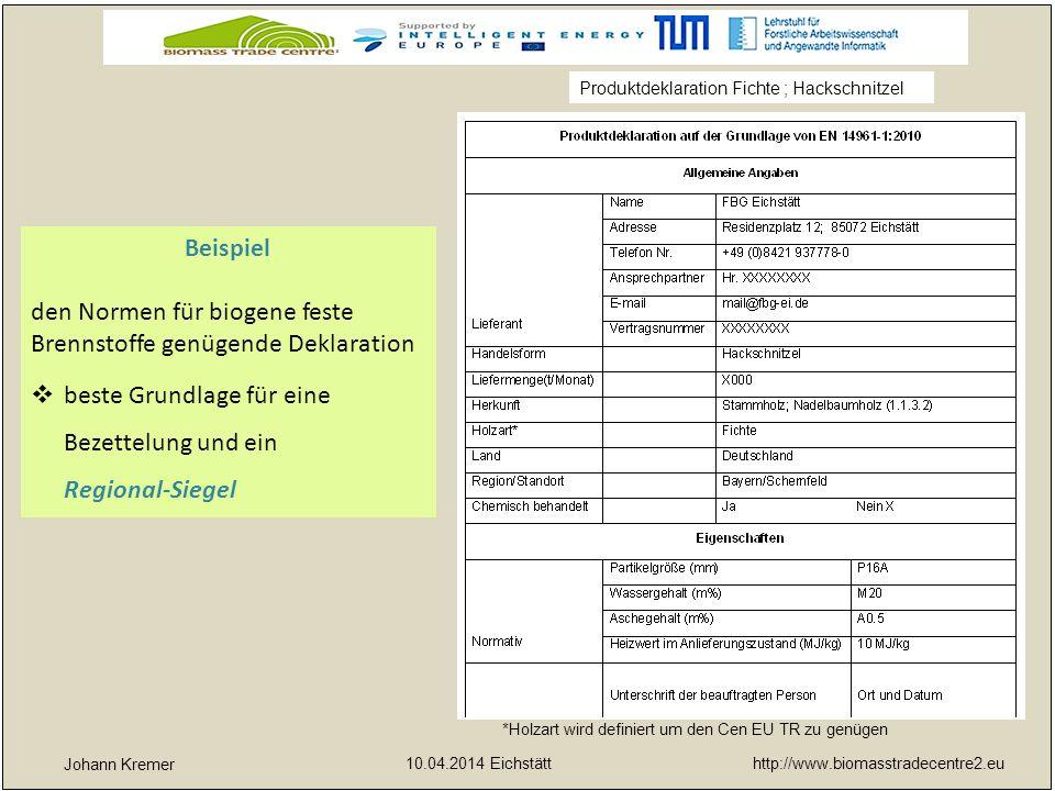 http://www.biomasstradecentre2.eu 10.04.2014 Eichstätt yx Johann Kremer Beispiel den Normen für biogene feste Brennstoffe genügende Deklaration  best