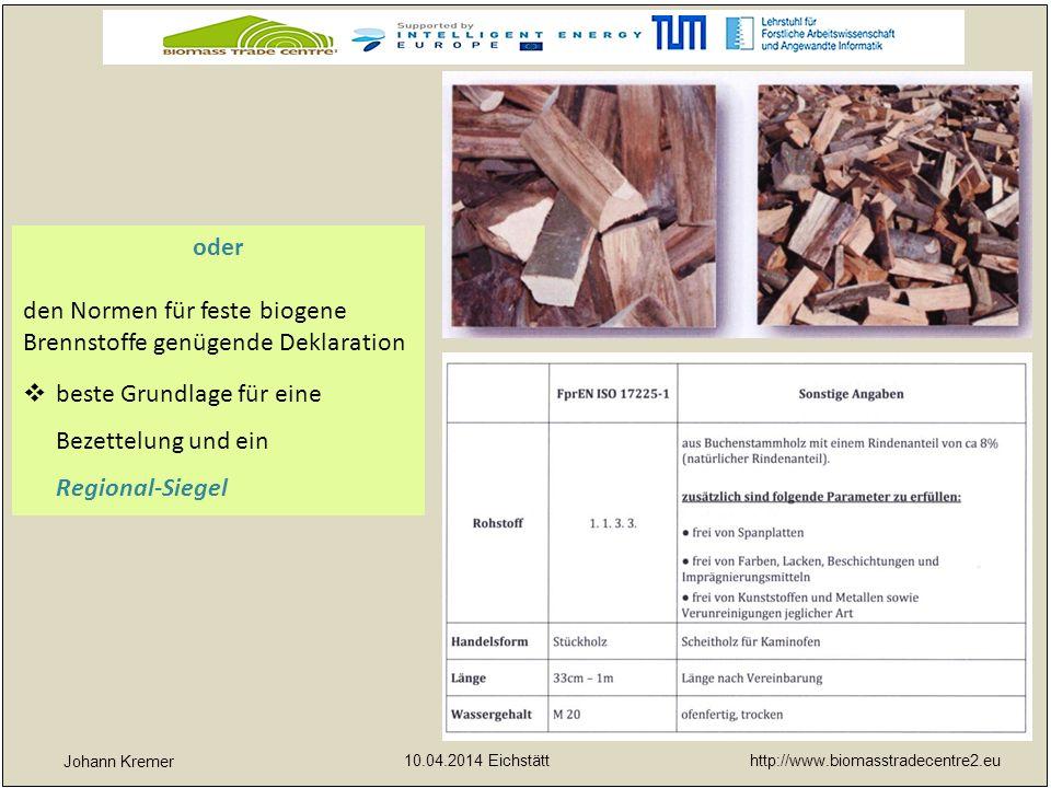 http://www.biomasstradecentre2.eu 10.04.2014 Eichstätt yx Johann Kremer oder den Normen für feste biogene Brennstoffe genügende Deklaration  beste Gr