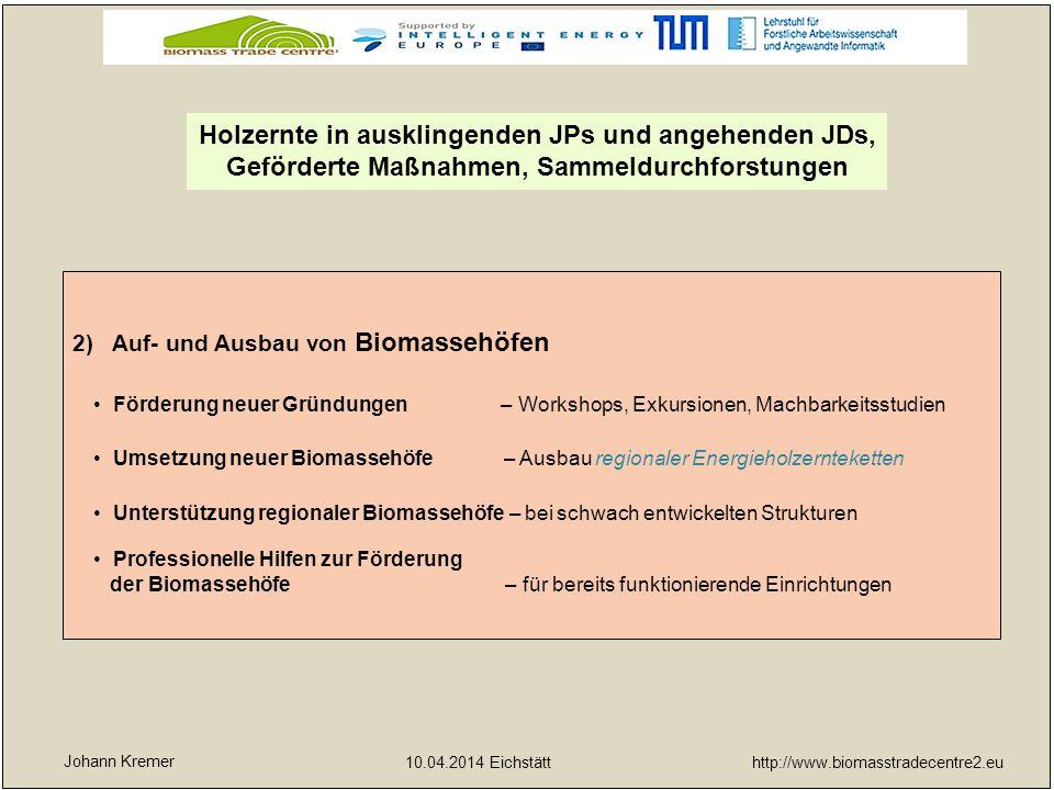 http://www.biomasstradecentre2.eu 10.04.2014 Eichstätt yx 2)Auf- und Ausbau von Biomassehöfen Förderung neuer Gründungen – Workshops, Exkursionen, Mac