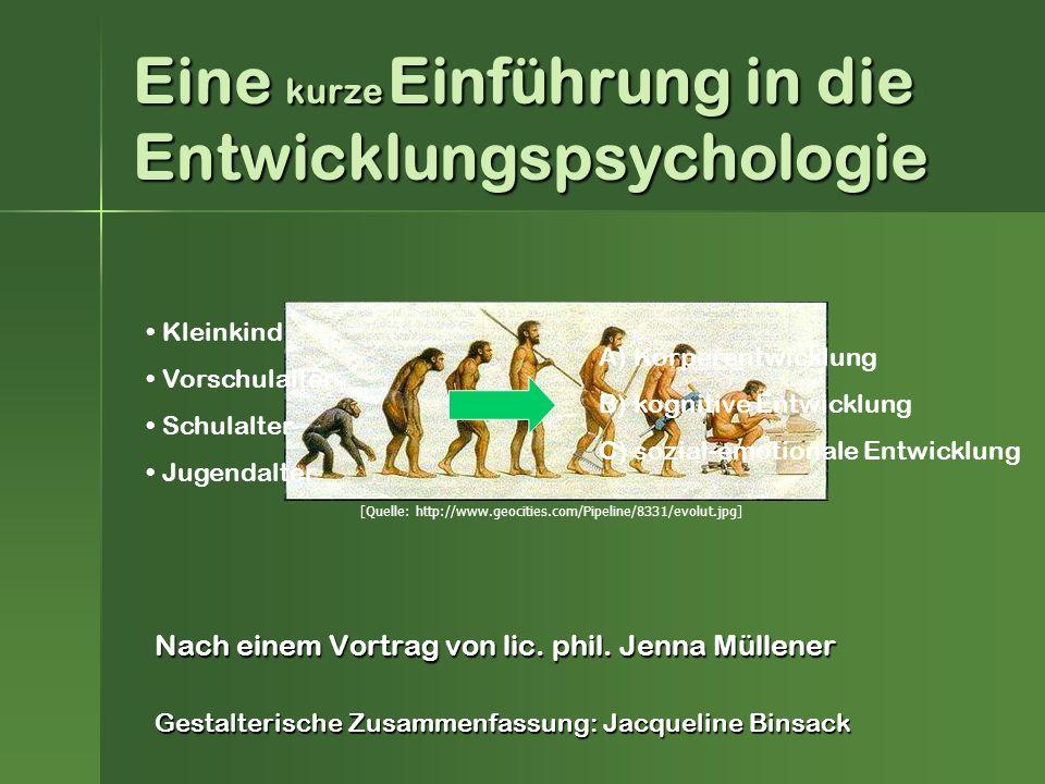 Eine kurze Einführung in die Entwicklungspsychologie Nach einem Vortrag von lic.