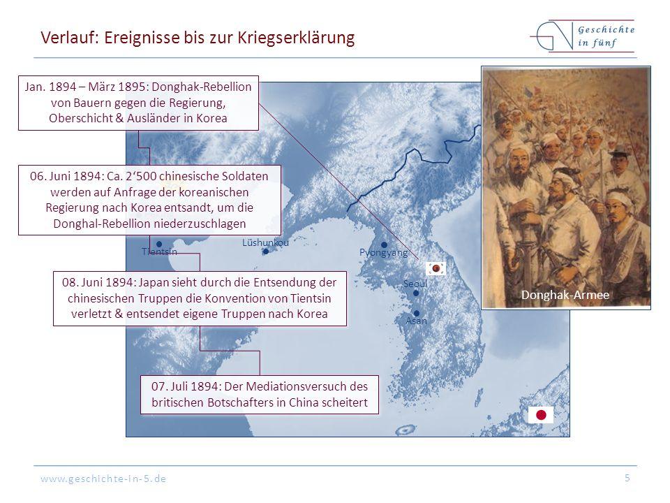 www.geschichte-in-5.de Seoul Pyongyang Asan Peking Lüshunkou Weihai Tientsin Verlauf: Ereignisse bis zur Kriegserklärung 6 Juli 1894: Die zahlenmäßig unterlegenden Chinesen können sich nur bei Asan halten & sind auf Versorgung von See angewiesen 23.