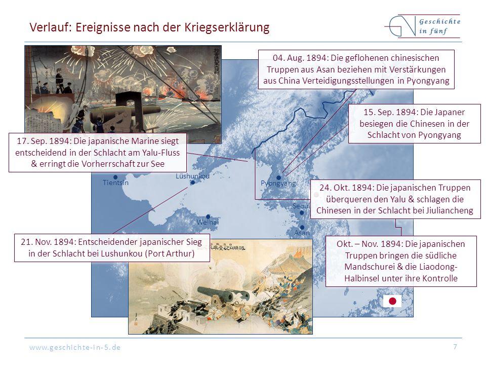 www.geschichte-in-5.de Seoul Pyongyang Asan Peking Lüshunkou Weihai Tientsin Verlauf: Ereignisse nach der Kriegserklärung 7 04.