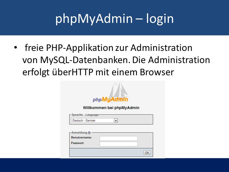 phpMyAdmin – login freie PHP-Applikation zur Administration von MySQL-Datenbanken.