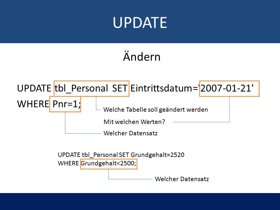 UPDATE UPDATE tbl_Personal SET Eintrittsdatum= 2007-01-21 WHERE Pnr=1; Welche Tabelle soll geändert werden Mit welchen Werten.