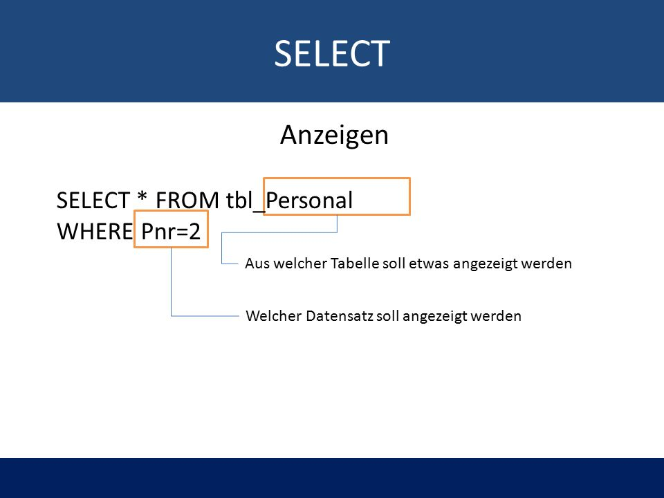 SELECT Aus welcher Tabelle soll etwas angezeigt werden Welcher Datensatz soll angezeigt werden Anzeigen SELECT * FROM tbl_Personal WHERE Pnr=2