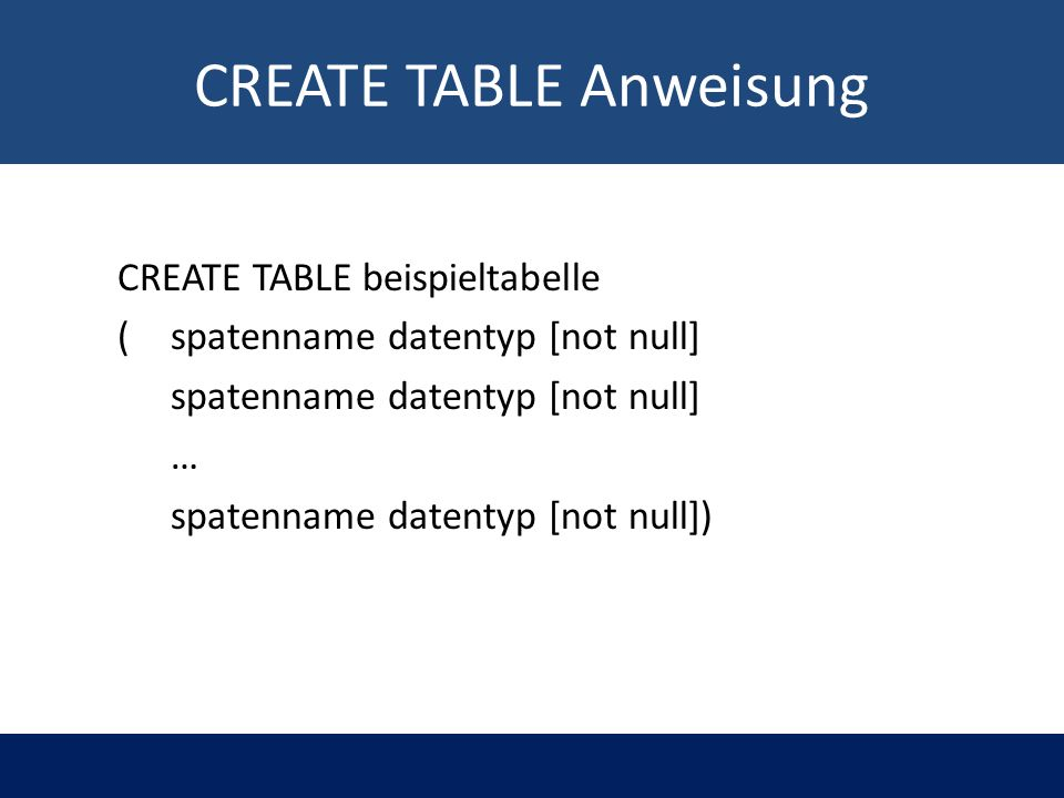 CREATE TABLE Anweisung CREATE TABLE beispieltabelle ( spatenname datentyp [not null] spatenname datentyp [not null] … spatenname datentyp [not null])