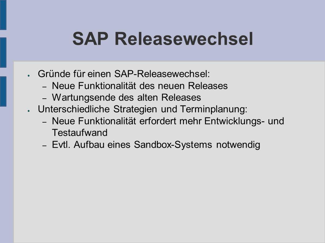 SAP Releasewechsel ● Gründe für einen SAP-Releasewechsel: – Neue Funktionalität des neuen Releases – Wartungsende des alten Releases ● Unterschiedlich