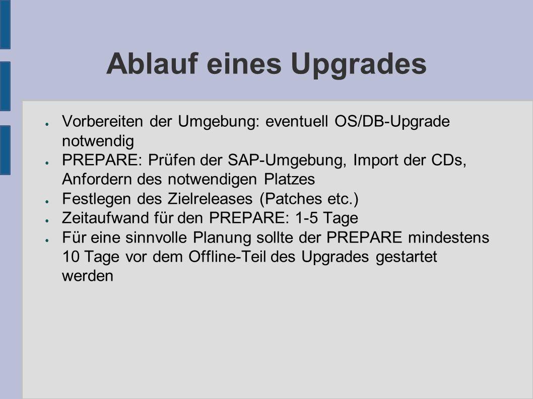 Ablauf eines Upgrades ● Vorbereiten der Umgebung: eventuell OS/DB-Upgrade notwendig ● PREPARE: Prüfen der SAP-Umgebung, Import der CDs, Anfordern des