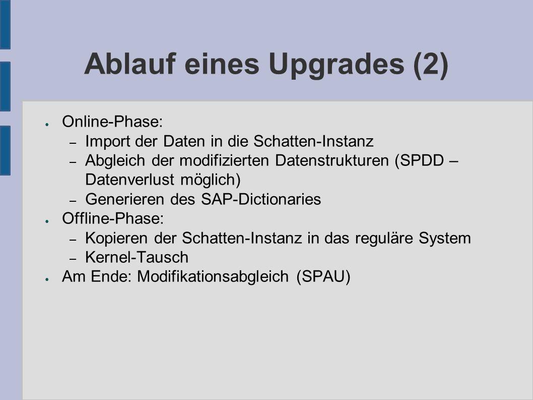 Ablauf eines Upgrades (2) ● Online-Phase: – Import der Daten in die Schatten-Instanz – Abgleich der modifizierten Datenstrukturen (SPDD – Datenverlust