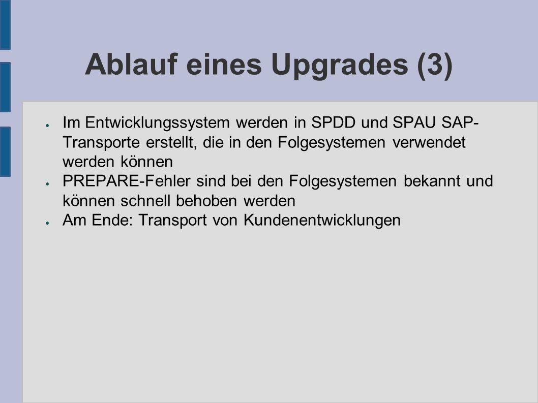 Ablauf eines Upgrades (3) ● Im Entwicklungssystem werden in SPDD und SPAU SAP- Transporte erstellt, die in den Folgesystemen verwendet werden können ●