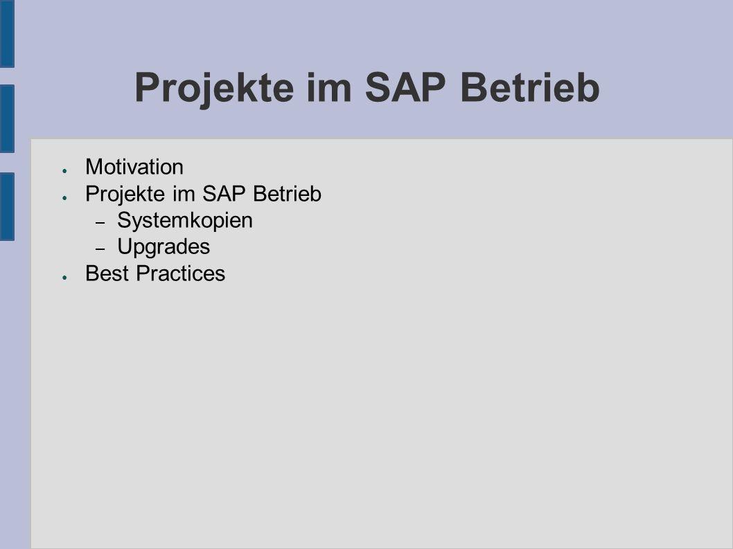 Ablauf eines Upgrades (3) ● Im Entwicklungssystem werden in SPDD und SPAU SAP- Transporte erstellt, die in den Folgesystemen verwendet werden können ● PREPARE-Fehler sind bei den Folgesystemen bekannt und können schnell behoben werden ● Am Ende: Transport von Kundenentwicklungen