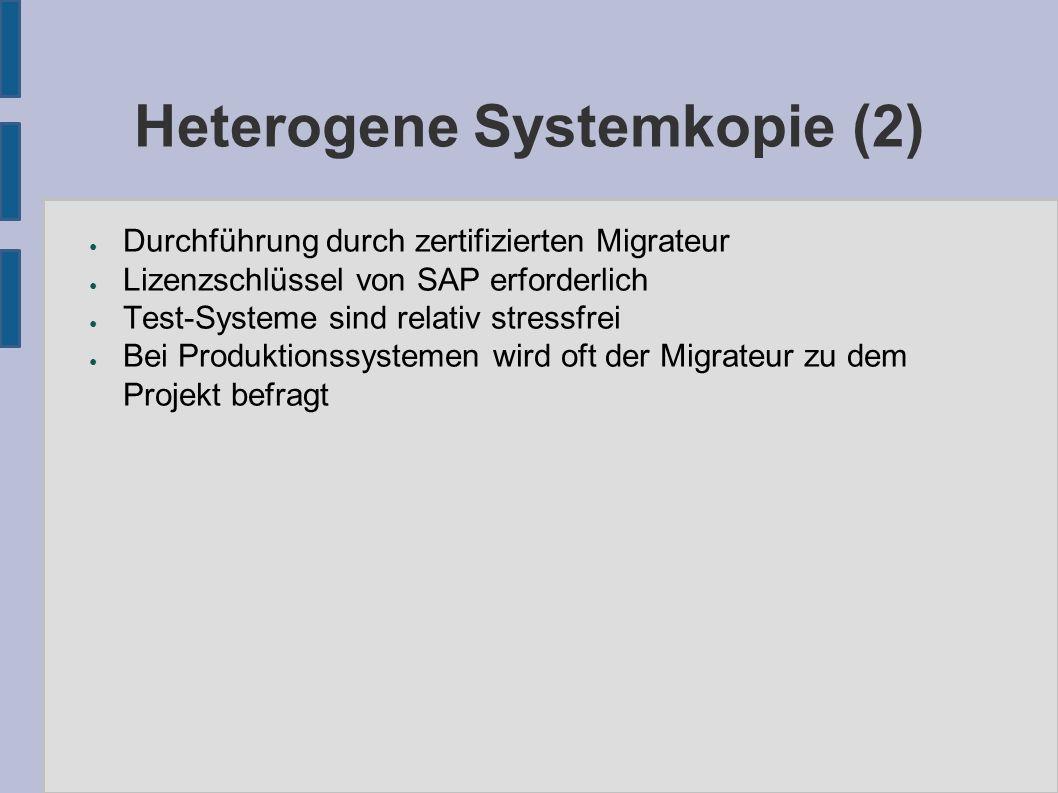 Heterogene Systemkopie (3) ● Das R3load-Verfahren wird auch für die Unicode-Migration eingesetzt ● Vorarbeiten: – Eigene ABAP-Reports unicode-fähig machen – Bei Multiple Codepages: Analyse-Programme laufen lassen und Umsetzungen definieren – Testläufe ● Ablauf: – Entladen der DB mit R3load (Single/Multiple CP) – Laden der DB mit R3load in Unicode