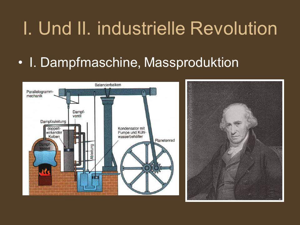I. Und II. industrielle Revolution I. Dampfmaschine, Massproduktion