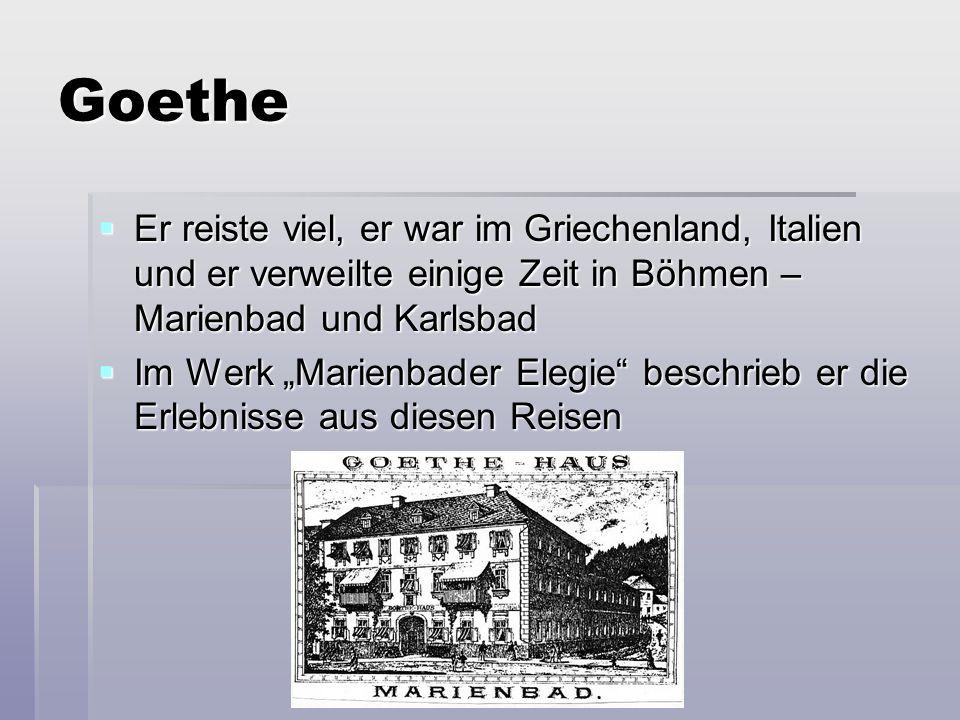 Goethe  Goethe war nicht nur als Schriftsteller, aber auch als Wissenschafter bekannt  Er interessierte sich auch für die Osteologie, Botanik (er machte die Herbaren), Anatomie, Mineralogie, Geologie und Fahrenlehren