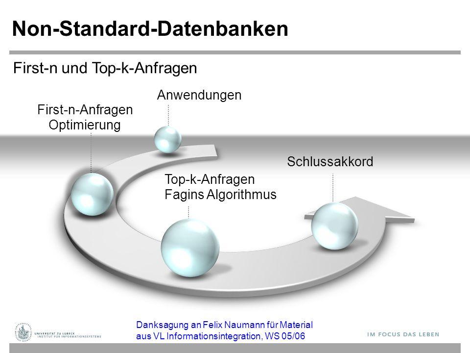 First-n-Anfragen Optimierung Non-Standard-Datenbanken Top-k-Anfragen Fagins Algorithmus Schlussakkord First-n und Top-k-Anfragen Anwendungen Danksagun