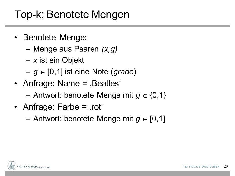 20 Top-k: Benotete Mengen Benotete Menge: –Menge aus Paaren (x,g) –x ist ein Objekt –g  [0,1] ist eine Note (grade) Anfrage: Name = 'Beatles' –Antwor