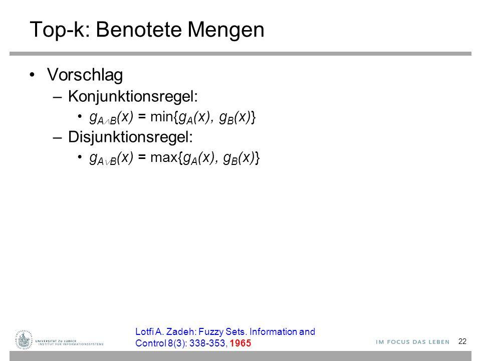 22 Top-k: Benotete Mengen Vorschlag –Konjunktionsregel: g A  B (x) = min{g A (x), g B (x)} –Disjunktionsregel: g A  B (x) = max{g A (x), g B (x)} Lo